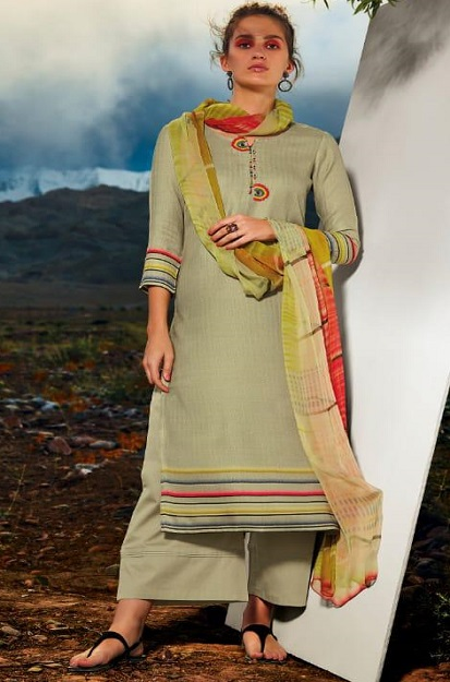 Ganga Presents All hues Wool Dobby Printed With Embroidery and Button Work Winter Suits 8115