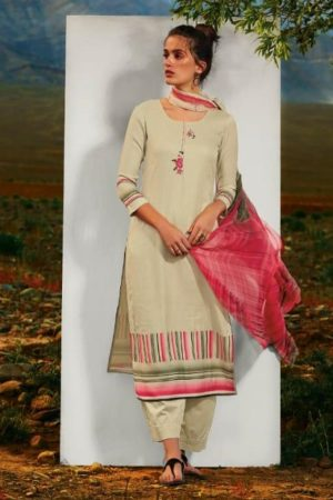 Ganga Presents All hues Wool Dobby Printed With Embroidery and Button Work Winter Suits 8116