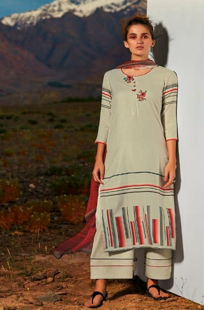 Ganga Presents All hues Wool Dobby Printed With Embroidery and Button Work Winter Suits 8118
