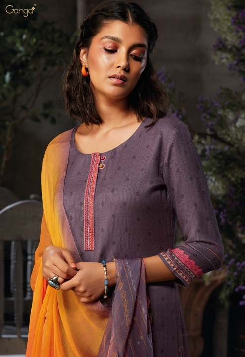 Ganga Presents Azen Pure Wool Dobby Printed Winter Unstitched Salwar Suit 8138