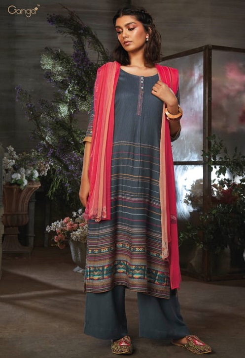 Ganga Presents Azen Pure Wool Dobby Printed Winter Unstitched Salwar Suit 8139