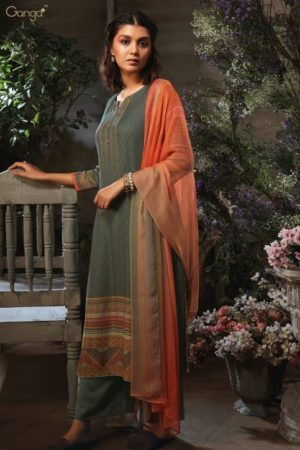 Ganga Presents Azen Pure Wool Dobby Printed Winter Unstitched Salwar Suit 8143