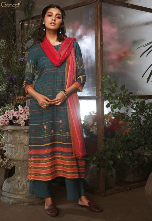 Ganga Presents Azen Pure Wool Dobby Printed Winter Unstitched Salwar Suit 8145