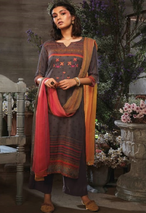 Ganga Presents Azen Pure Wool Dobby Printed Winter Unstitched Salwar Suits 8142