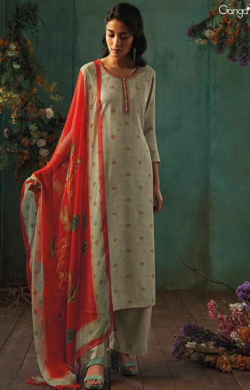 Ganga Presents Emerald Flower Collection Pure Wool Dobby Printed With Embroidery Salwar Suits 8202