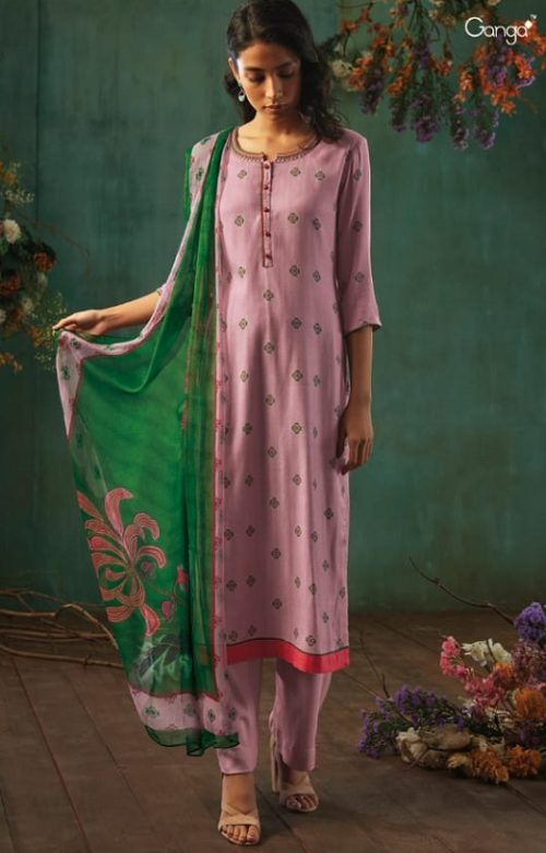 Ganga Presents Emerald Flower Collection Pure Wool Dobby Printed With Embroidery Salwar Suits 8203