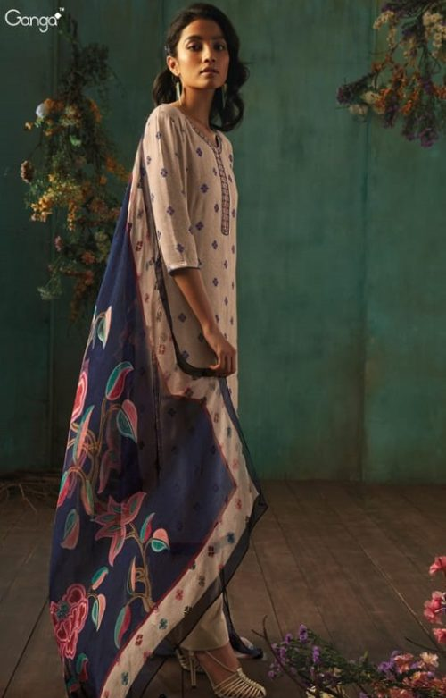 Ganga Presents Emerald Flower Collection Pure Wool Dobby Printed With Embroidery Salwar Suits 8204