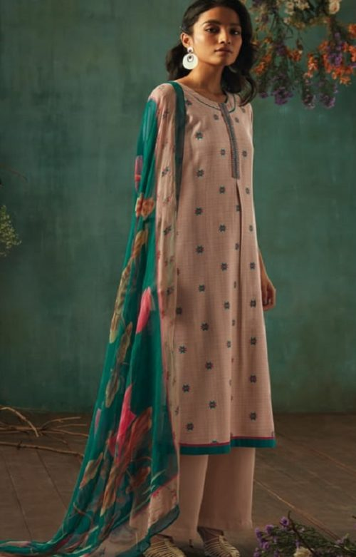 Ganga Presents Emerald Flower Collection Pure Wool Dobby Printed With Embroidery Salwar Suits 8206