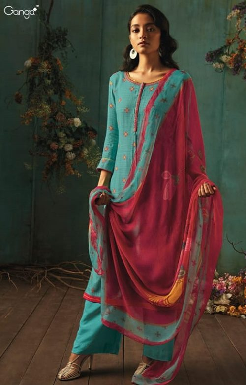 Ganga Presents Emerald Flower Collection Pure Wool Dobby Printed With Embroidery Salwar Suits 8207