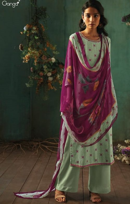 Ganga Presents Emerald Flower Collection Pure Wool Dobby Printed With Embroidery Salwar Suits 8209