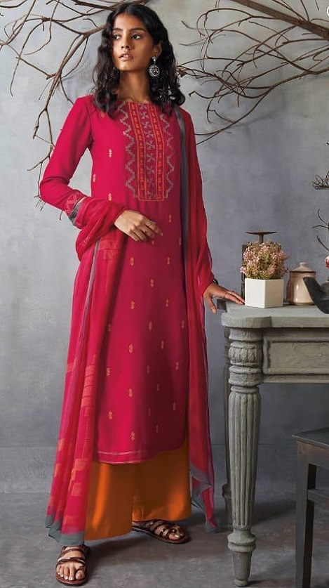 Ganga Presents Kai Wool Dobby Solid With Heavy Embroidery on Front And Border For Sleeves Salwar Suits 8222