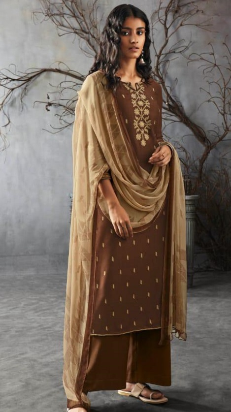 Ganga Presents Kai Wool Dobby Solid With Heavy Embroidery on Front And Border For Sleeves Salwar Suit 8225