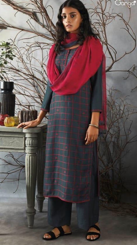 Ganga Presents Kai Wool Dobby Solid With Heavy Embroidery on Front And Border For Sleeves Salwar Suit 8226