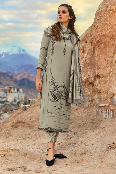 Ganga Presents Morning After Dark Pure Wool Dobby Solid Embroidered Winter Collection Salwar Suit 8101