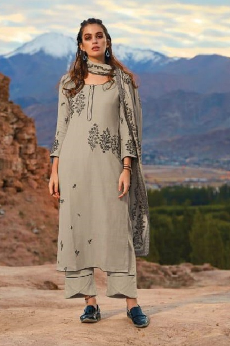 Ganga Presents Morning After Dark Pure Wool Dobby Solid Embroidered Winter Collection Salwar Suit 8102