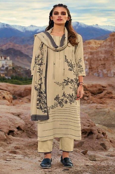 Ganga Presents Morning After Dark Pure Wool Dobby Solid Embroidered Winter Collection Salwar Suit 8103