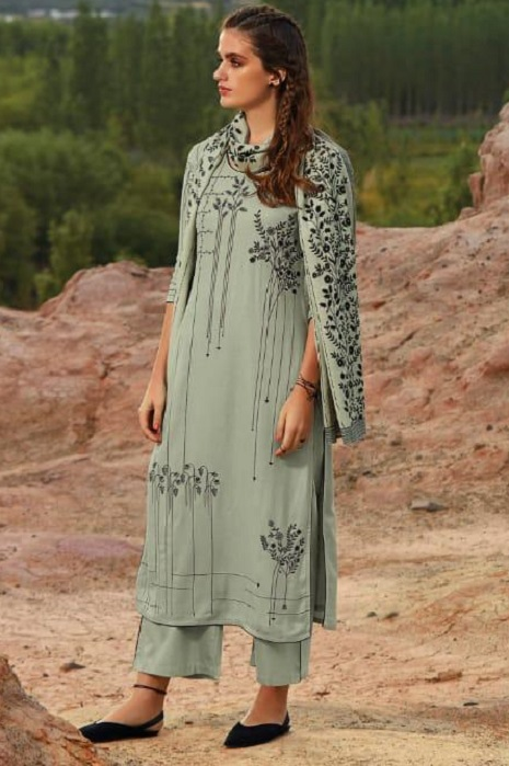 Ganga Presents Morning After Dark Pure Wool Dobby Solid Embroidered Winter Collection Salwar Suit 8105