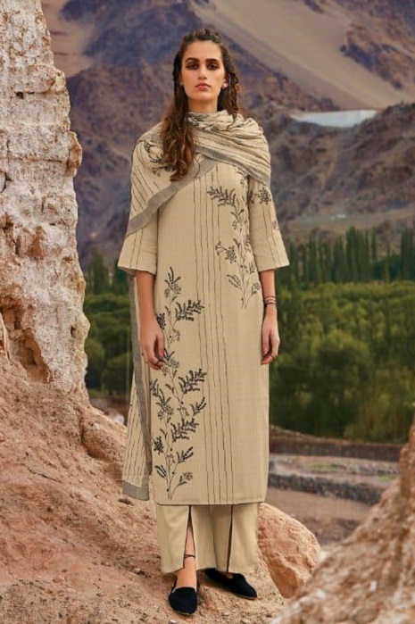 Ganga Presents Morning After Dark Pure Wool Dobby Solid Embroidered Winter Collection Salwar Suit 8108