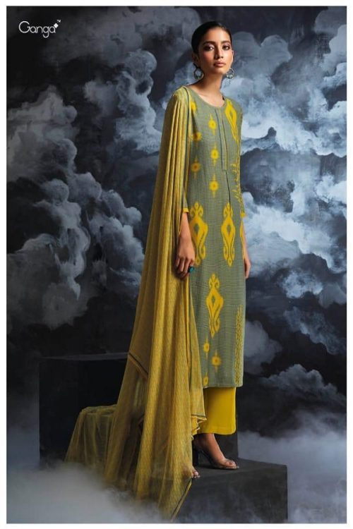 Ganga Presents Passing cloud Pure Wool Doby Printed With Extra Sleeves and Hand Crafted Embroidery Suit 8128
