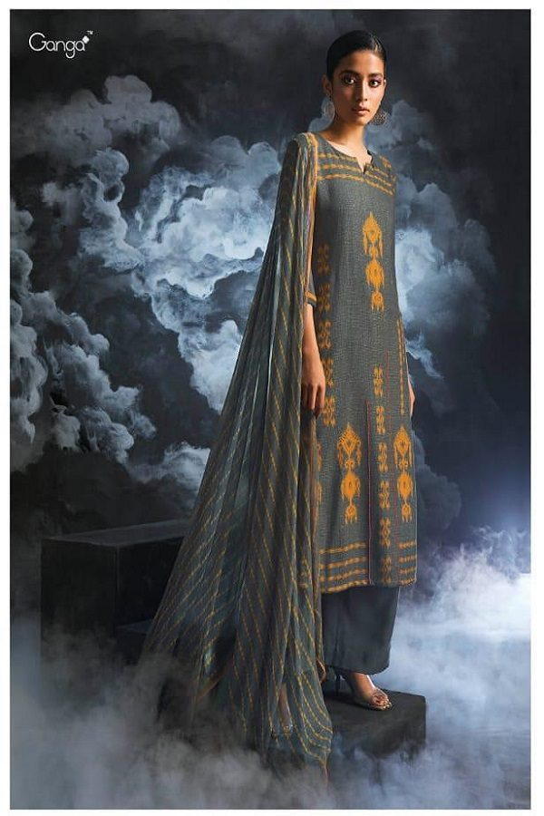 Ganga Presents Passing cloud Pure Wool Doby Printed With Extra Sleeves and Hand Crafted Embroidery Suit 8130