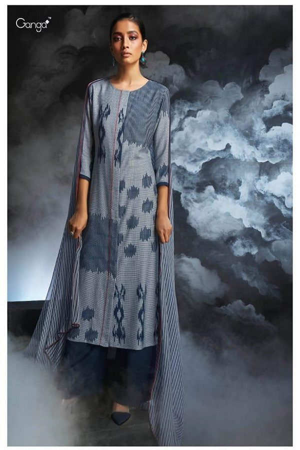 Ganga Presents Passing cloud Pure Wool Doby Printed With Extra Sleeves and Hand Crafted Embroidery Suit 8133