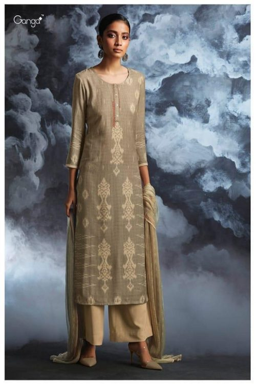 Ganga Presents Passing cloud Pure Wool Doby Printed With Extra Sleeves and Hand Crafted Embroidery Suit 8135