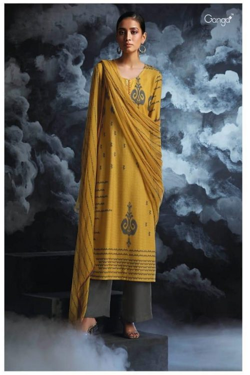 Ganga Presents Passing cloud Pure Wool Doby Printed With Extra Sleeves and Hand Crafted Embroidery Suits 8129