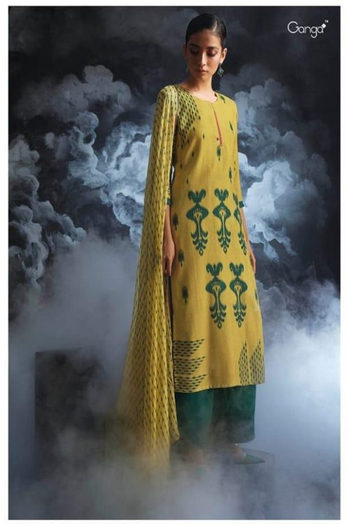 Ganga Presents Passing cloud Pure Wool Doby Printed With Extra Sleeves and Hand Crafted Embroidery Suits 8131