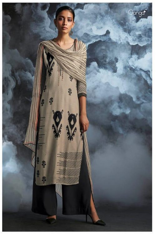 Ganga Presents Passing cloud Pure Wool Doby Printed With Extra Sleeves and Hand Crafted Embroidery Suits 8134
