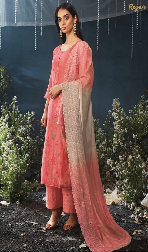 Ganga Reyna Moon Shadow Pure Bemberg Silk Digital Print With Hand and Swaroski Work Suit 403