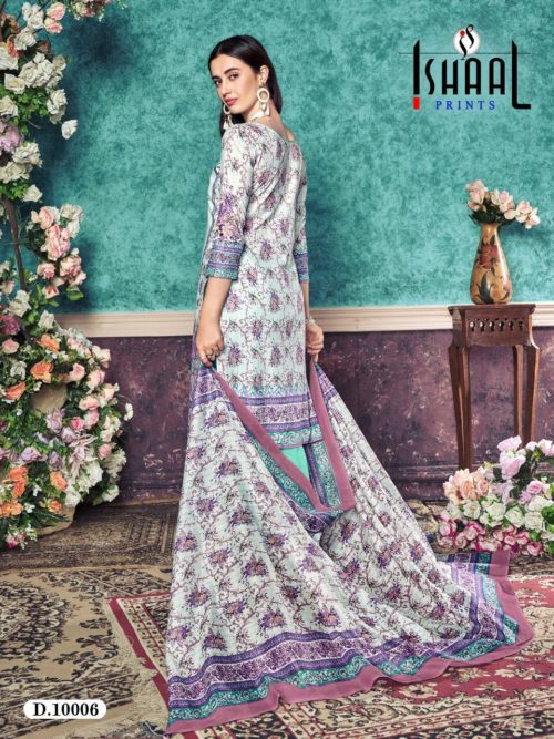 Ishaal Print Presents Gulmohar Vol 10 Pure Lawn Unstitched Salwar Suit 10006