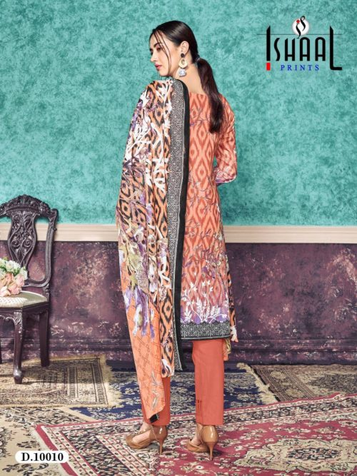 Ishaal Print Presents Gulmohar Vol 10 Pure Lawn Unstitched Salwar Suit 10010