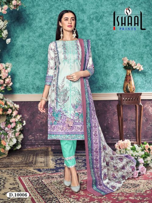 Ishaal Print Presents Gulmohar Vol 10 Pure Lawn Unstitched Salwar Suits 10006
