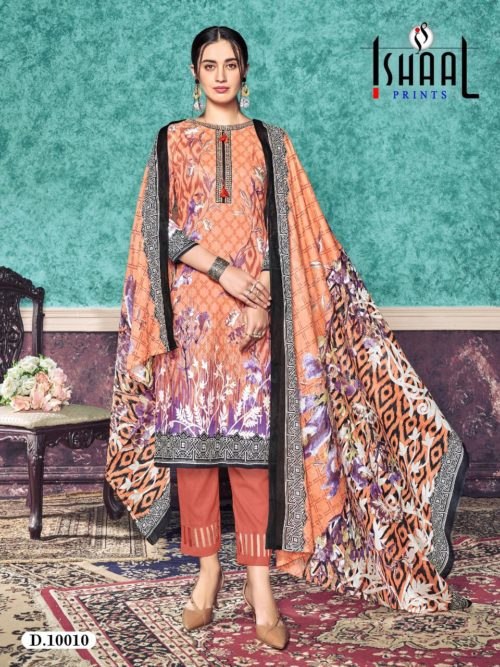 Ishaal Print Presents Gulmohar Vol 10 Pure Lawn Unstitched Salwar Suits 10010