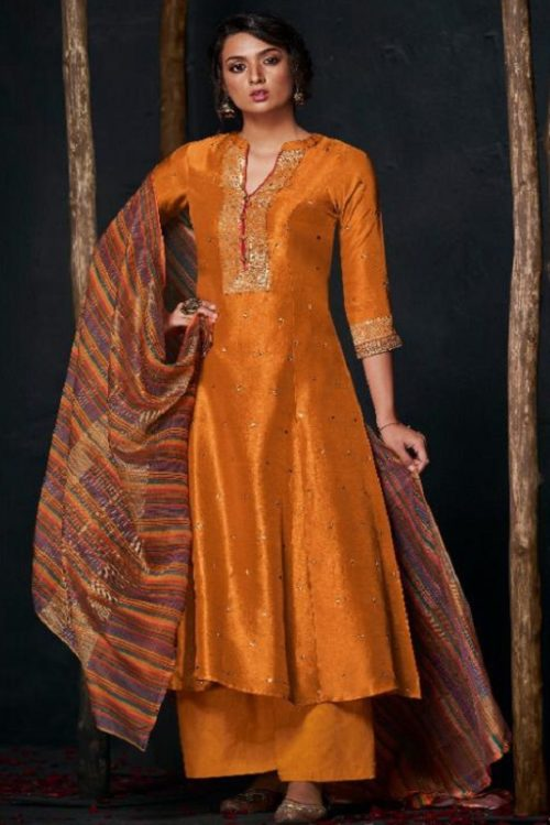 JayVijay Presents Aloha Pure Bemberg Silk With Handwork Unstitched Salwar Suit 2109