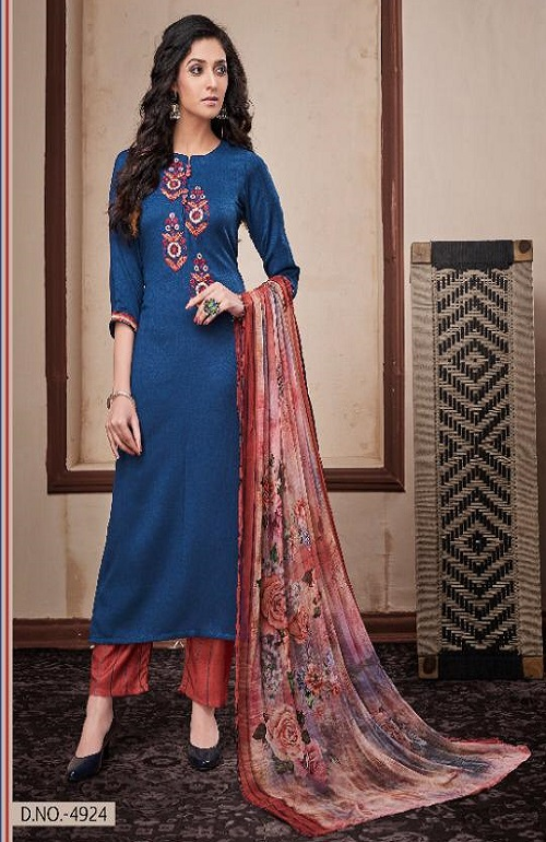 Jayvijay Presents Toral Pashmina Dyed With Embroidery Winter Salwar Kameez 4924