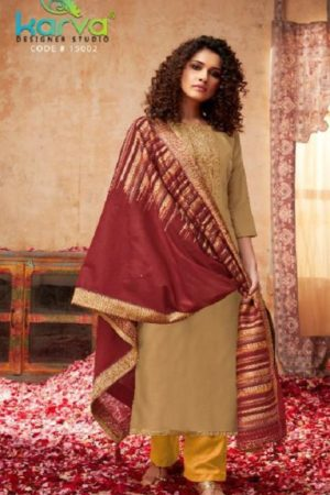 Karva Designer Studio Presents Pashmina Rose Gold Winter Collection Unstitched Salwar Suits 15002