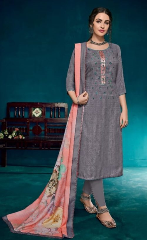 Kesari Trendz Kanika Vol 1 Pashmina Dobby Negative Print Self Embroidery work Salwar suit 1039