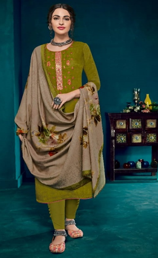 Kesari Trendz Kanika Vol 1 Pashmina Dobby Negative Print Self Embroidery work Salwar suit 1040