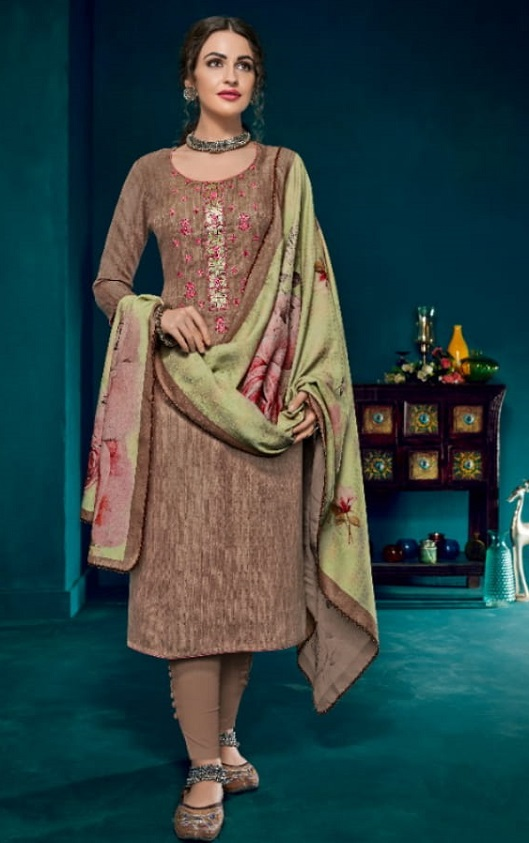 Kesari Trendz Kanika Vol 1 Pashmina Dobby Negative Print Self Embroidery work Salwar suit 1043