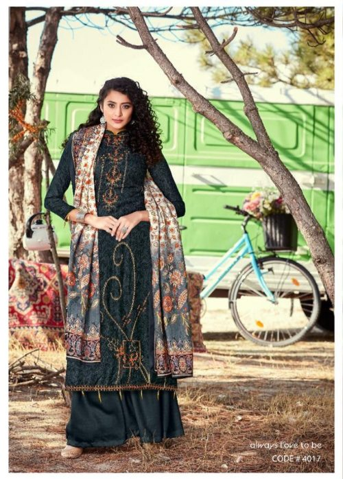 Levisha Presents Shikha 100% Pure Pashmina Print With Fancy Self Embroidery Work Salwar Suit 4017