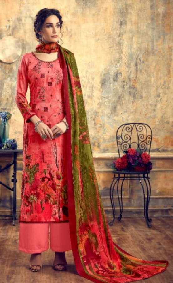 Levisha Presents Zariya Pure Pashmina Print With Fancy Self Embroidery Salwar Suit 4315