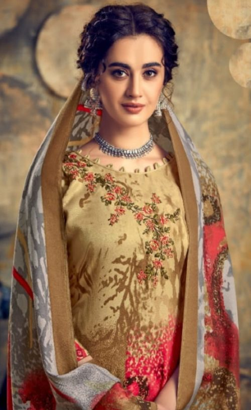 Levisha Presents Zariya Pure Pashmina Print With Fancy Self Embroidery Salwar Suits 4319