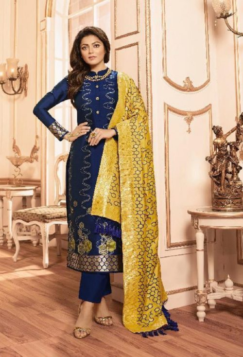 Lt Fabrics Presents Vol 144 Silk Jacquard With Embroidery Partywear Unstitched Suit 44004