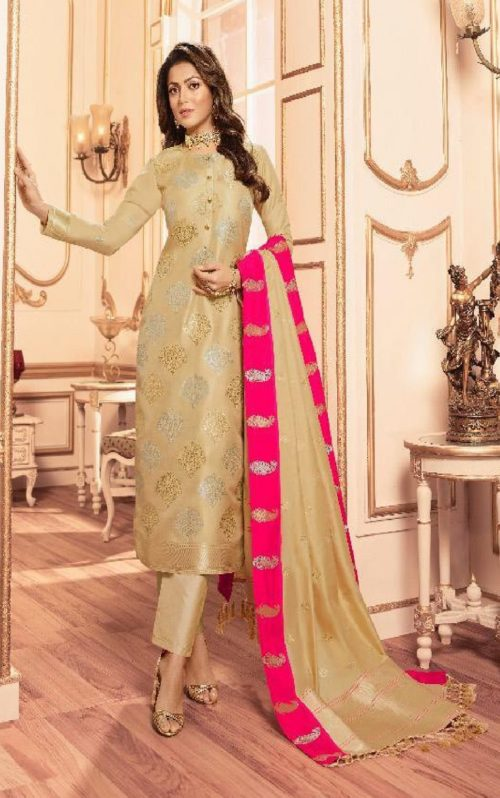 Lt Fabrics Presents Vol 144 Silk Jacquard With Embroidery Partywear Unstitched Suit 44005
