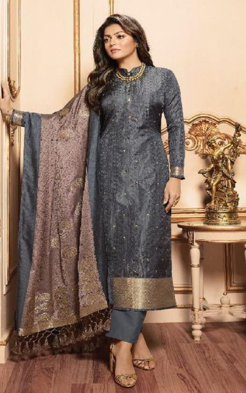 Lt Fabrics Presents Vol 144 Silk Jacquard With Embroidery Partywear Unstitched Suit 44006