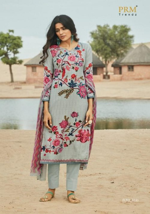 PRM Trendz Presents Avni Pure Pashmina Digital Printed With Work Salwar Suits 3146