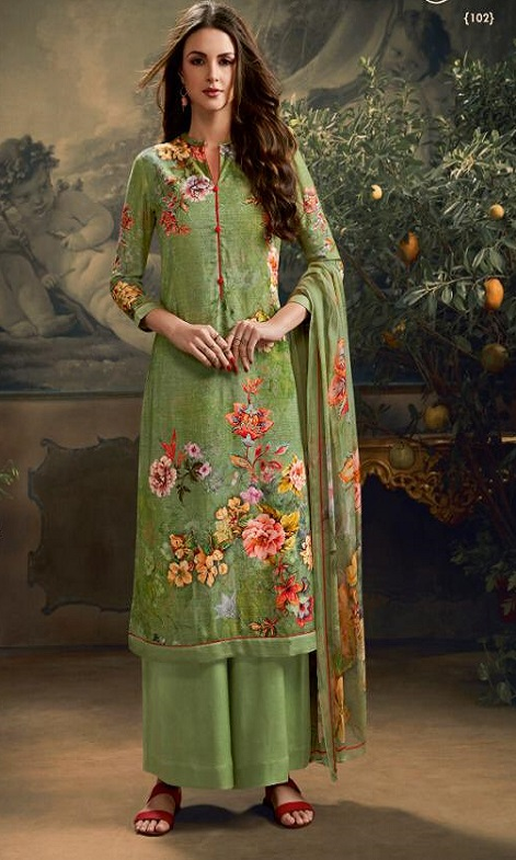 Sahiba Esta Designes Presents Esleen Pashmina Dobby Digital Printed Schiffli and Swarovski Work Salwar Suit 102