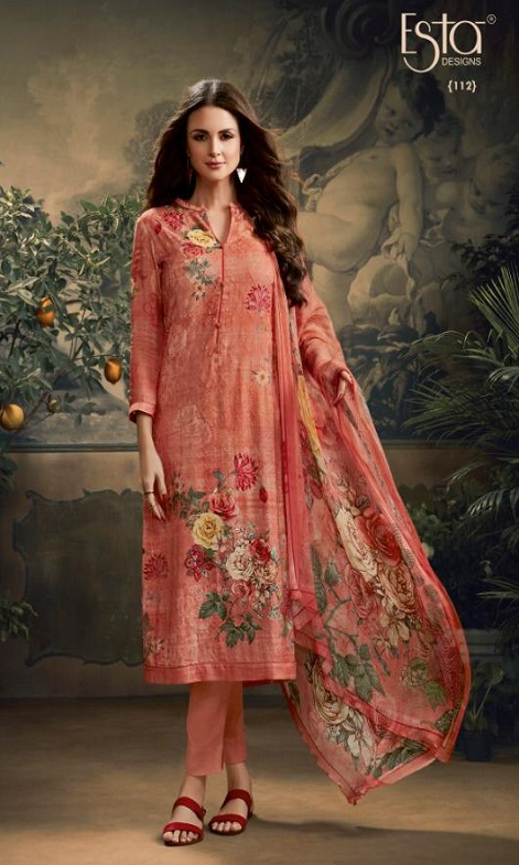 Sahiba Esta Designs Presents Esleen Pashmina Dobby Digital Printed Schiffli and Swarovski Work Salwar Suit 112