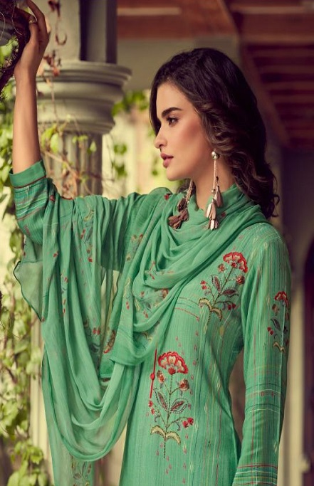Sahiba Esta Designs Presents Shore Pashmina Dobby Printed With Handwork Salwar Suits 1008